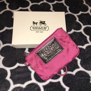 Coach Poppy Authentic Pink Wristlet